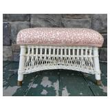 Small antique upholstered wicker stool
