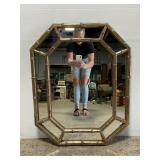 Vintage gold bamboo large wall mirror