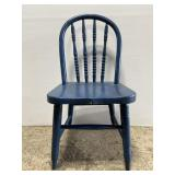 Small blue chippy painted wood childs chair
