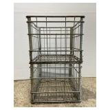 Pair of matching Heatherwood metal dairy crates
