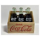 Vintage coca-cola 6 pack in wood caddy