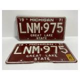 Pair of rare red matching 1971 MI license plates