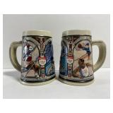 Pair of 2 Budweiser Olympic beer steins