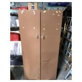 Brown metal garage storage cabinet