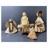 Lot of 4 mini Hawaiian coconut husk figures