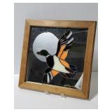 Signed stained glass bird mirror