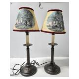 Two lamps w/ Glynda Turley lamp shades