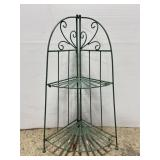 Folding 2-tier painted wrought iron plant stand
