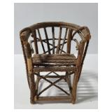 Handcrafted miniature twig chair folk art