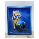 Huge Miller Lite reflective beer & football sign
