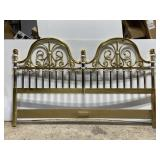 Vintage gold painted wood & metal headboard