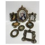 Lot of 8 Italian brass mini photo frames