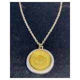 Vintage 1776 gold coin pendant on chain
