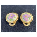 Pair of tiny gold embroidered clip-on earrings