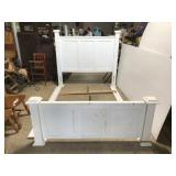 Large white wooden queen bed for repair