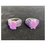 Lot of 2 sterling purple turquoise amethyst rings