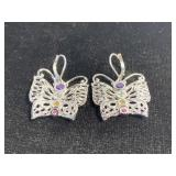 Sterling silver marked gemstone butterfly earrings