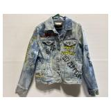 Painted distressed classic rock band Jean jacket