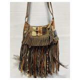 Handmade genuine leather fringe purse
