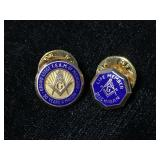 Two Masonic Free Mason 10k gold hat lapel pins