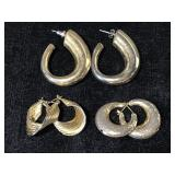 Gold tone hoop earring trio