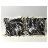 Pair tasseled tropical decorative throw pillows