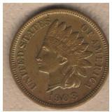 1908-S Indian Head Cent-KEY DATE  - AU