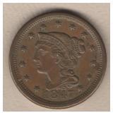 1848 Braided Hair Large Cent - AU