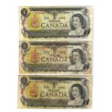 (3) 1973 Canadian $1 Notes