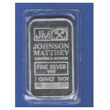 1 oz. Johnson Matthey Silver Bar