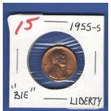 """1955-S """"BIE"""" Error Lincoln Cent"""