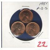 1951 - P,D,S Lincoln Cent Set