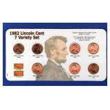 1982 Lincoln Cent - 7 Variety Set