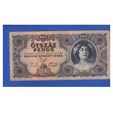 1945 Hungary 500 Pengo