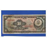 1940 Mexico 10 Pesos Note