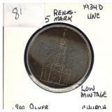 German 1934-D 5 Reichsmark