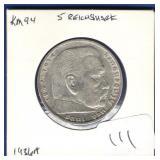 German 1936-A 5 Reichsmark