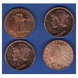(4) 1/4 oz. Copper Rounds