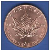 2018 1 oz. Cannabis Copper Round