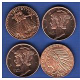 (4) 1/4 oz. Copper Rounds