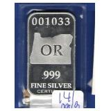 1 oz. OREGON Silver Bar
