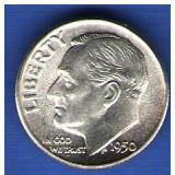 1950 BU Roosevelt Dime