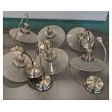 Six Chrome & Glass Pendant Lights