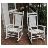 Pair Of Vintage White Wicker Rocking Chairs