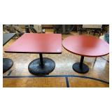 2 red top tables