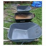 Three True Temper Wheelbarrows