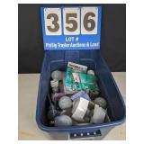 Tote Full of Assorted Light Bulbs