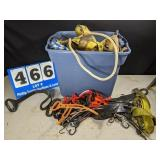 Tote Full of Rope, Straps and Cable Clamps