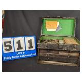 Antique Machinest Tool Box with Contents