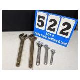 5 Crescent Wrenches15-15-10-8-6inch